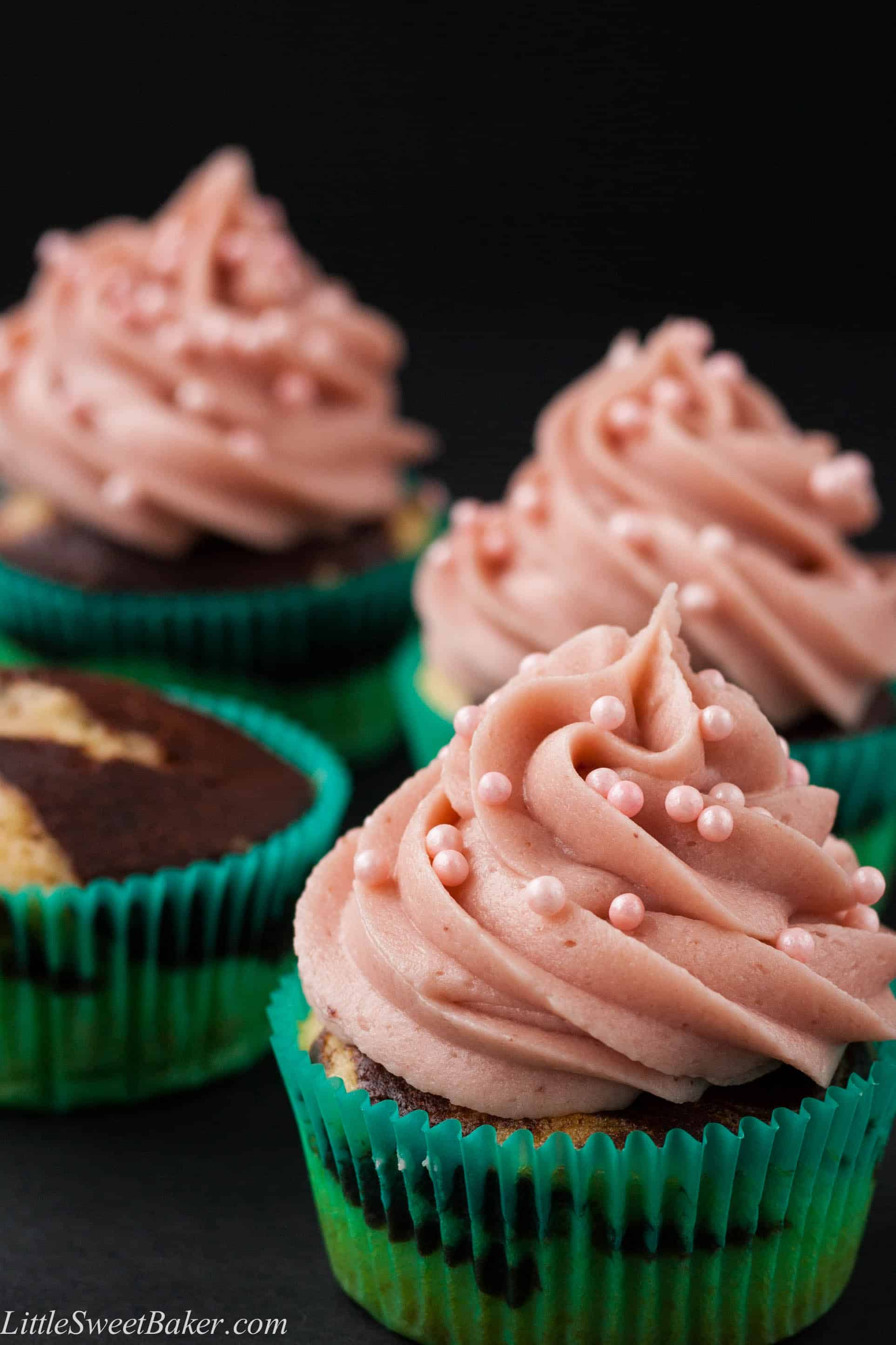 NEAPOLITAN CUPCAKES. Moist chocolate and vanilla marble cupcake with a strawberry buttercream. Easy to make and simple ingredients.