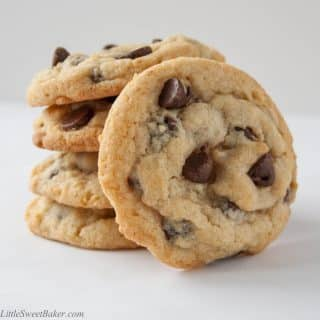 The best chocolate chip cookie recipe. Crispy around the edges, soft and chewy in the centre and loaded with chocolate chips.