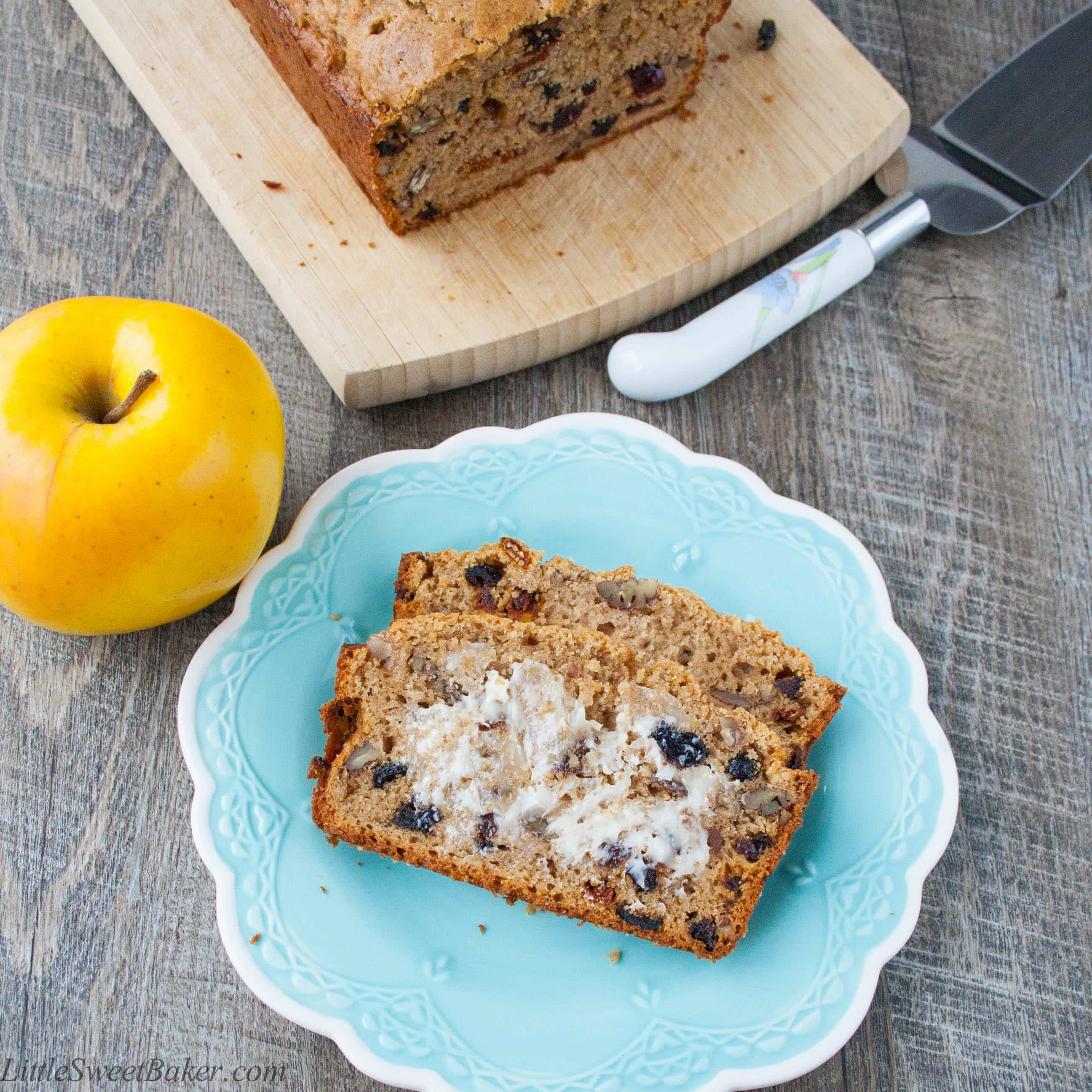 FRUIT & CINNAMON APPLESAUCE BREAD. A delicious, soft and moist cinnamon applesauce bread loaded with yummy fruits and nuts.