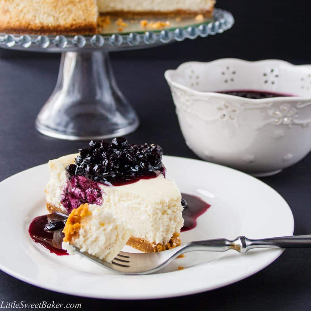 Low-Fat Vanilla Bean Cheesecake with Blueberry Compote. This is the most delicious and easy to make cheesecake. You won't believe it's low-fat and half the calories!