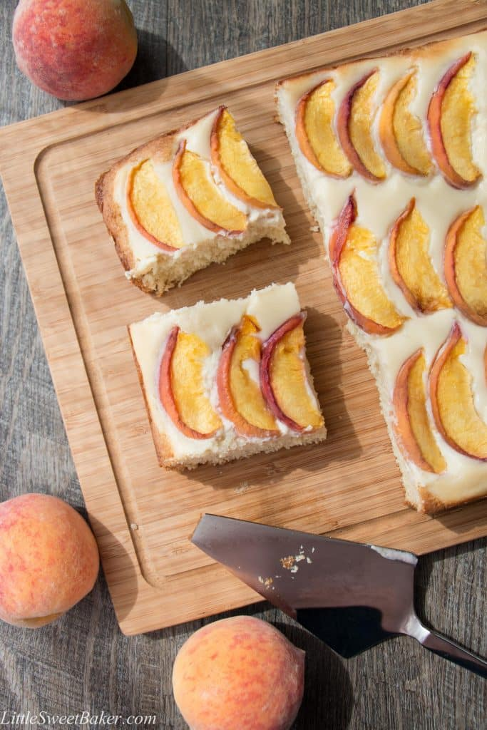 PEACHES AND CREAM COFFEE CAKE. A delicious sour cream coffee cake, topped with a velvety cream cheese mousse and juicy fresh peaches. Melt-in-your-mouth good!