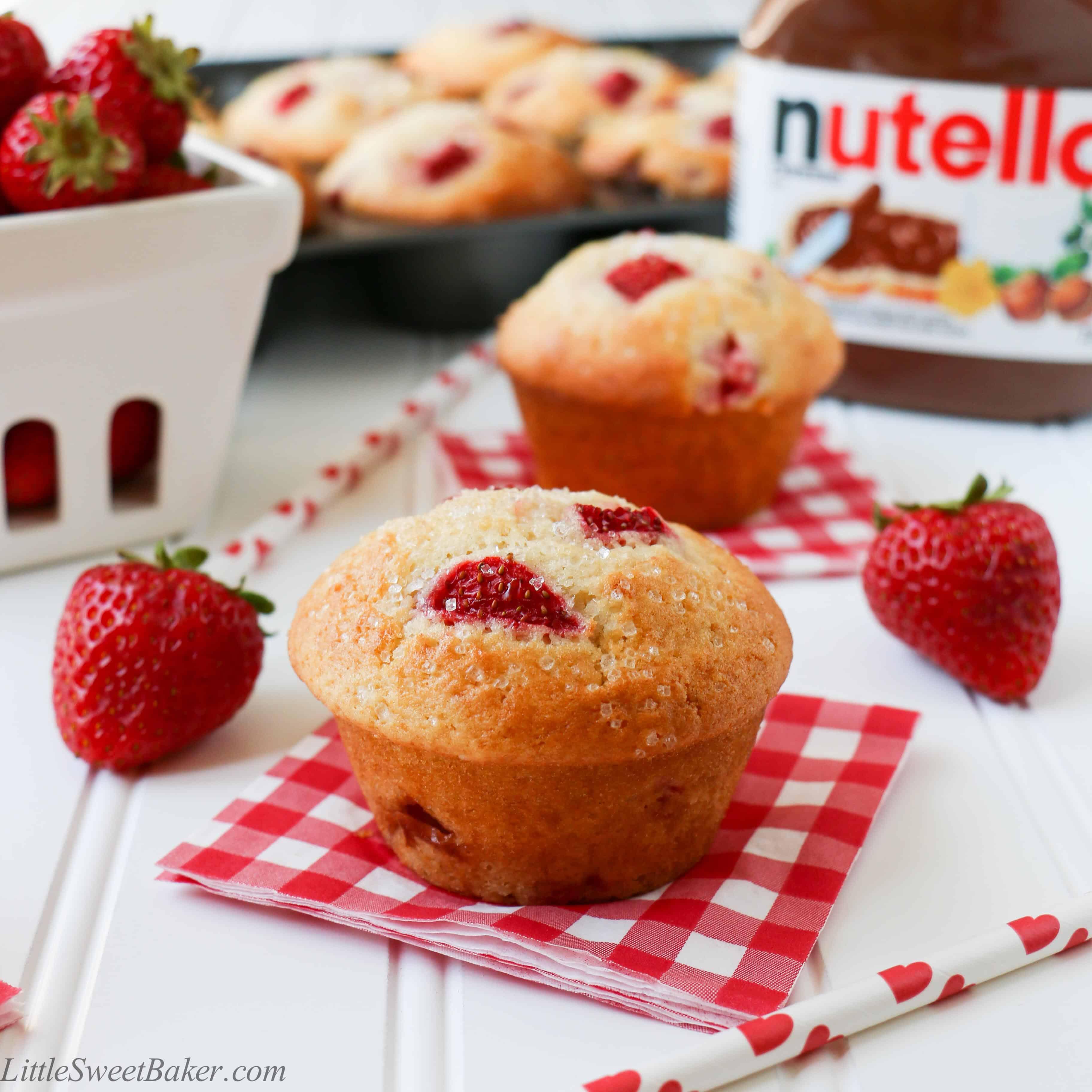 Nutella Stuffed Strawberry Muffins - Little Sweet Baker