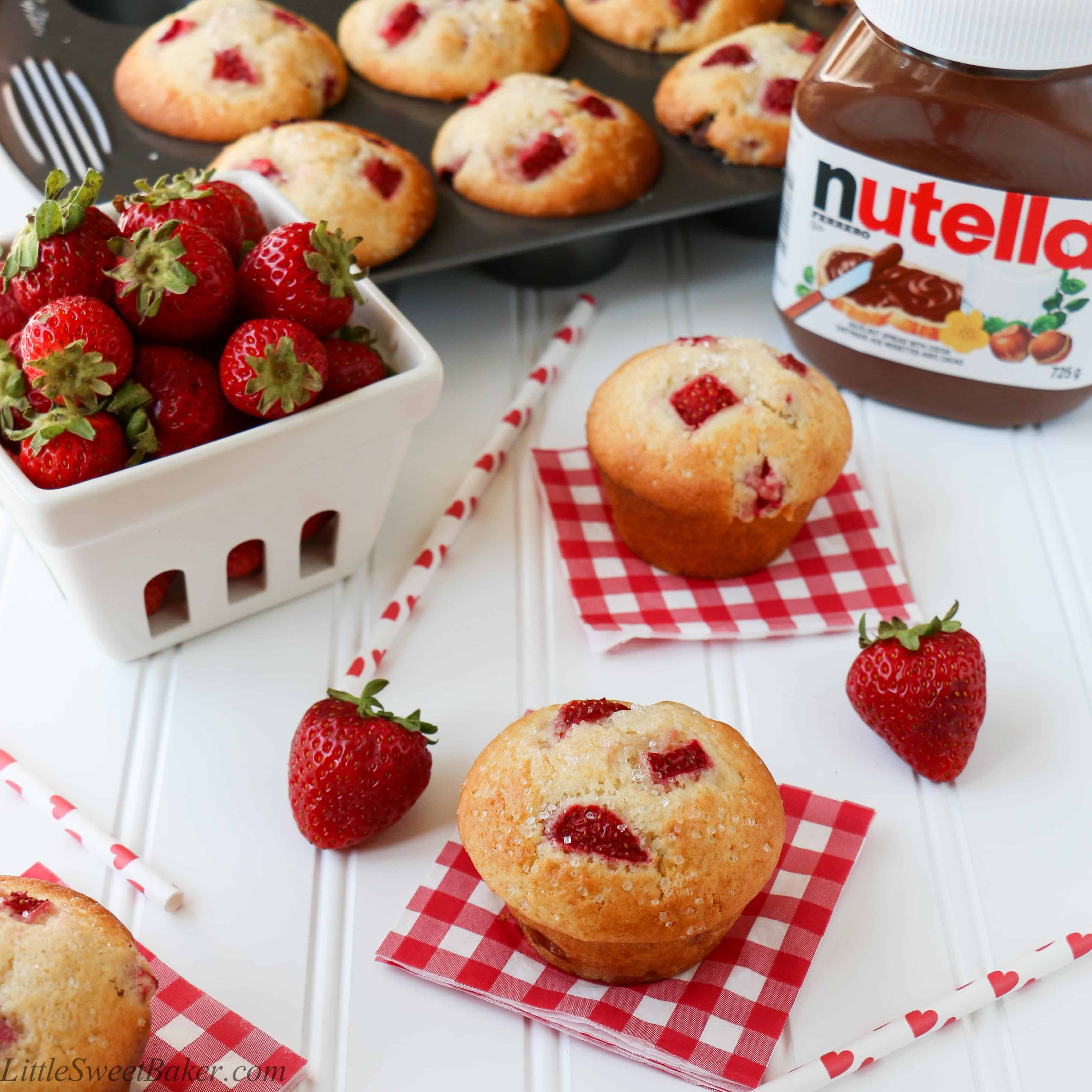 NUTELLA STUFFED STRAWBERRY MUFFINS. A delicious, soft, moist and ...