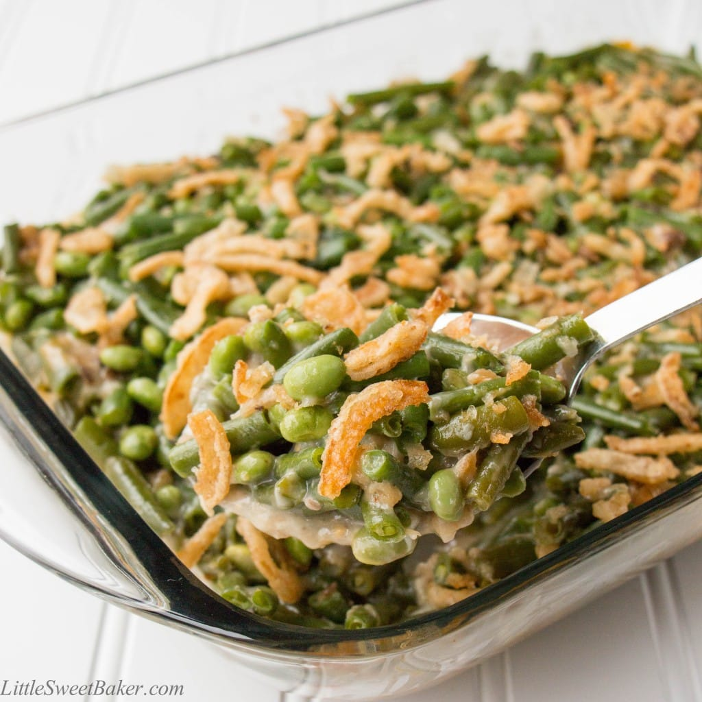 favorite! Green beans and edamame baked in a creamy mushroom sauce ...