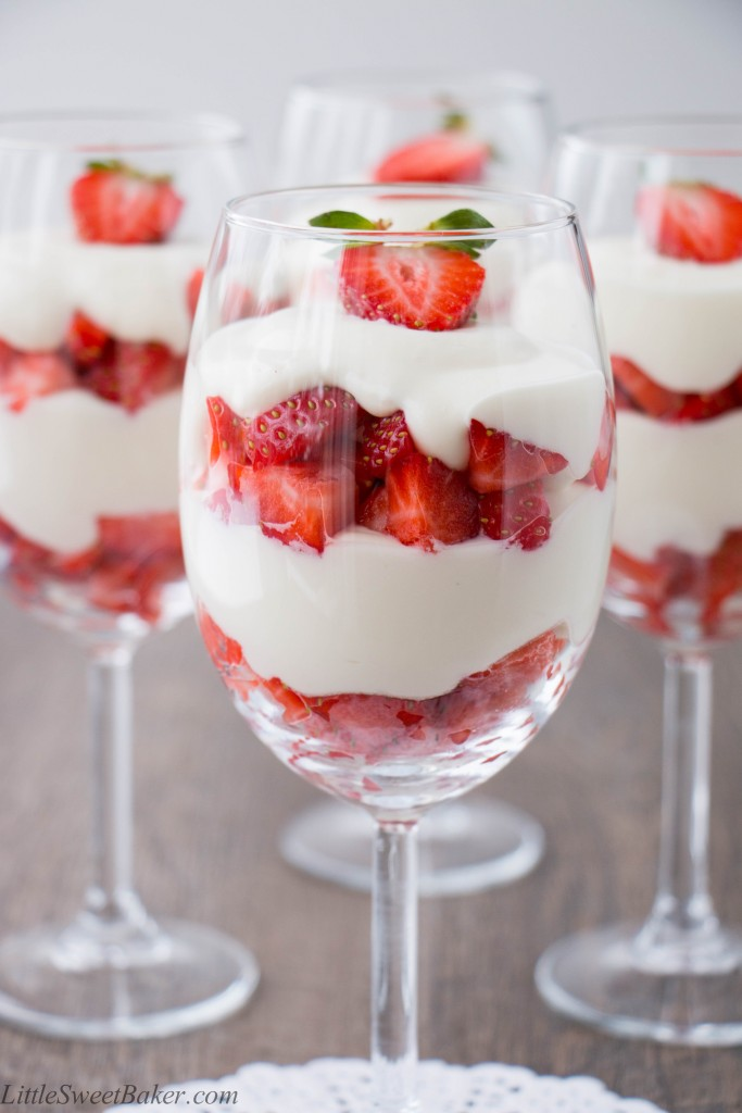 A velvety smooth white chocolate mousse paired with fresh ripe strawberries. Just 4 ingredients to make this simple and elegant dessert.