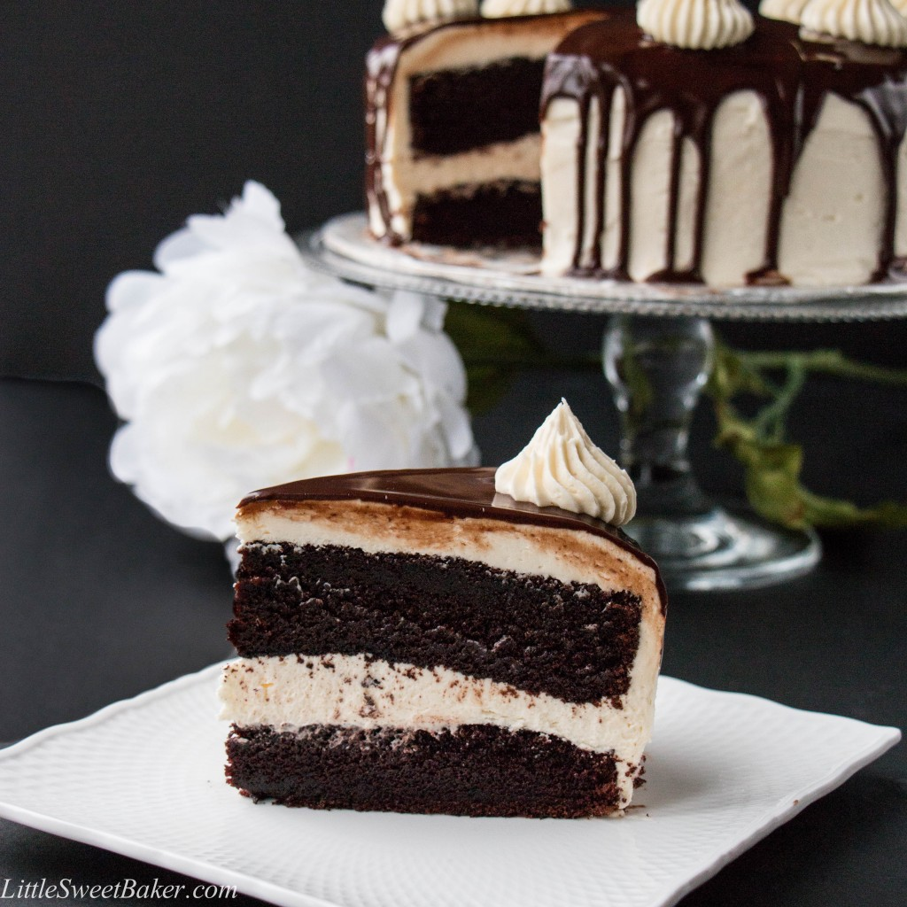 """TRIPLE CHOCOLATE CAKE. A rich dark chocolate fudge cake surrounded with a creamy white chocolate buttercream and topped with a smooth chocolate ganache. This cake will have you saying """"OMG!"""" It's that good."""
