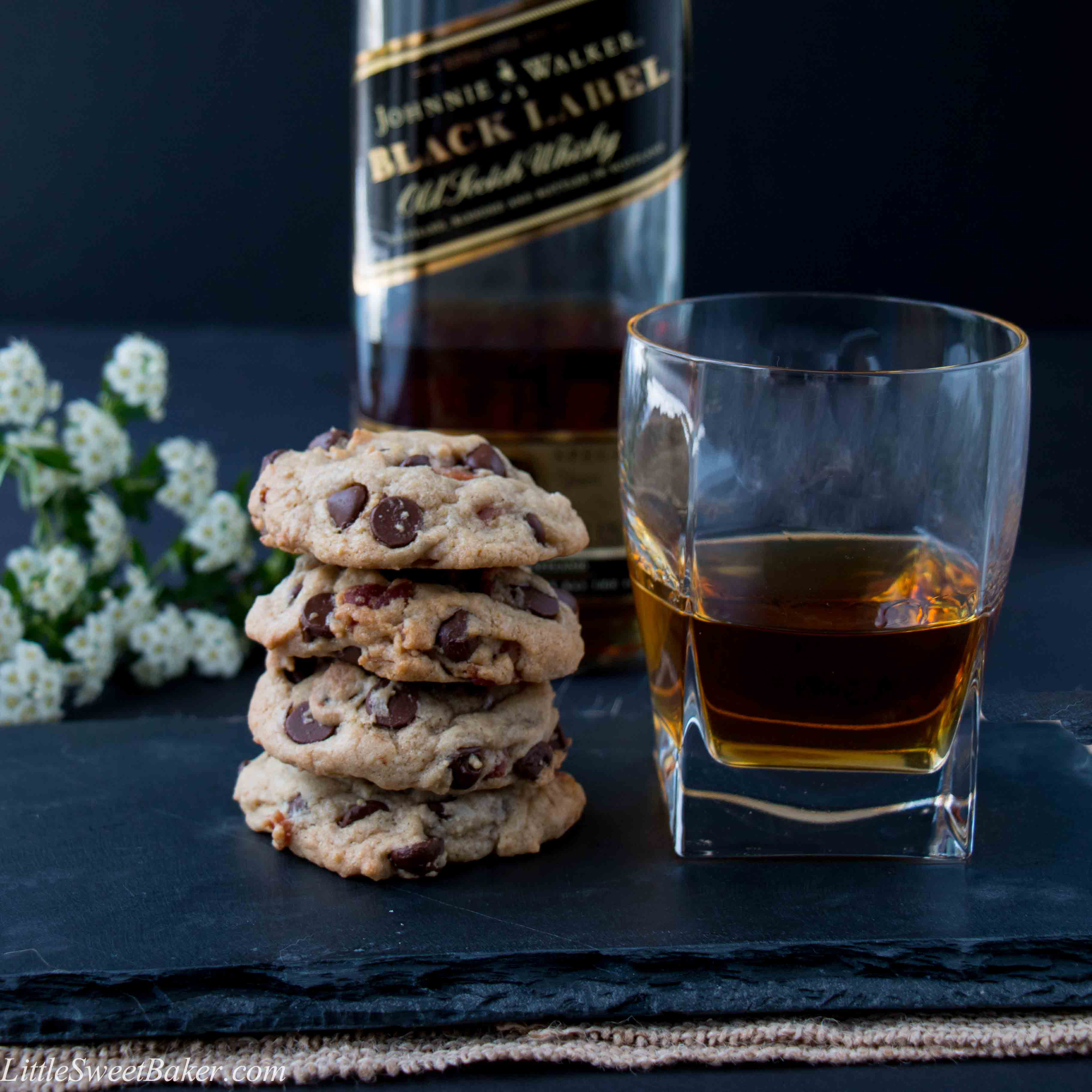Bourbon Bacon Chocolate Chip Cookies (video) - Little Sweet Baker